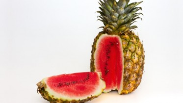 Photo manipulation:  pineapple with watermelon content